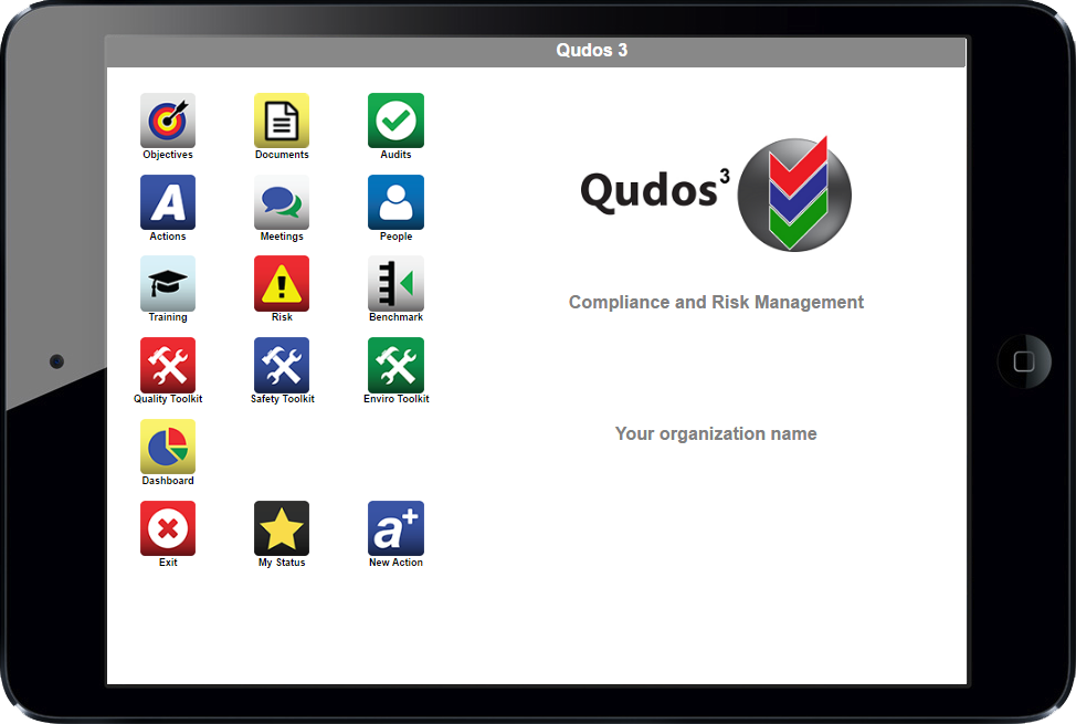 Qudos 3 compliance and risk management software main screen